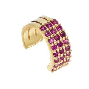 Magenta Triple Pavé Ear Cuff - Adina's Jewels
