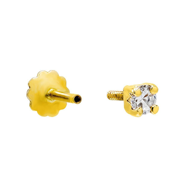 CZ Square Threaded Stud Earring 14K - Adina's Jewels