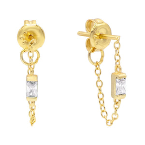 Gold Stone Chain Stud Earring - Adina's Jewels