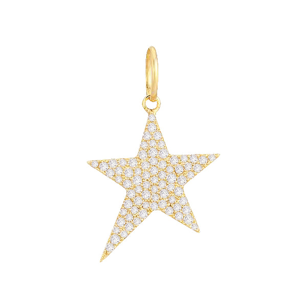 14K Gold Diamond Star Charm 14K - Adina's Jewels