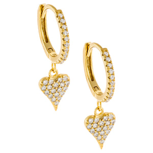 Gold Pavé Heart Charm Huggie Earring - Adina's Jewels