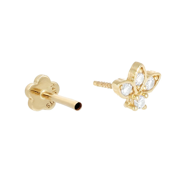 CZ Cluster Threaded Stud Earring 14K - Adina's Jewels