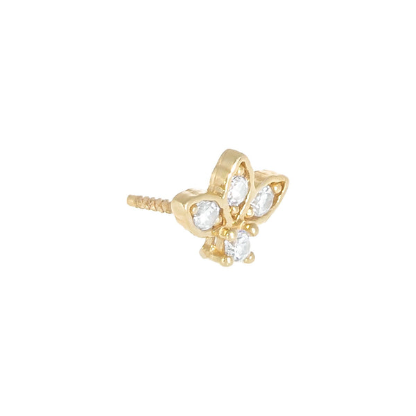 14K Gold / Single CZ Cluster Threaded Stud Earring 14K - Adina's Jewels