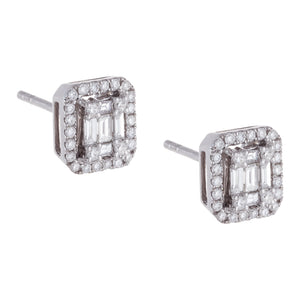 Diamond Emerald Stone Stud 14K 14K White Gold - Adina's Jewels