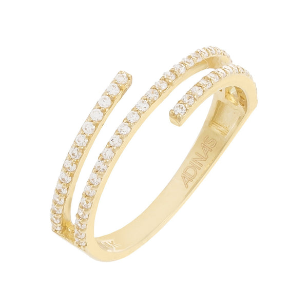 14K Gold / 8 Pavé Multi Wrap CZ Ring 14K - Adina's Jewels