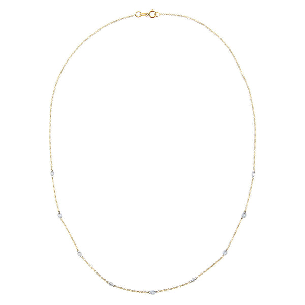 Floating Diamond By The Yard Necklace 18K  - Adina's Jewels