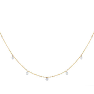 14K Gold Floating Diamond Necklace 14K - Adina's Jewels