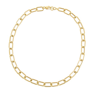 Hollow Chunky Link Necklace 14K  - Adina's Jewels
