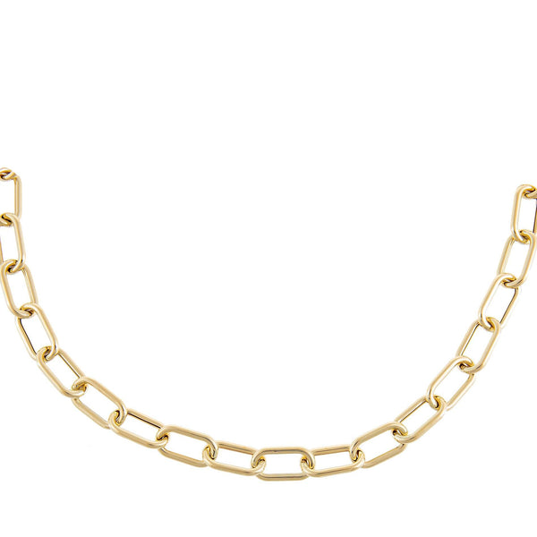 Hollow Chunky Link Necklace 14K