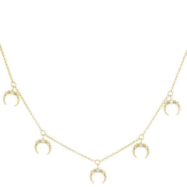 Pavé Dangling Cowhorn Necklace