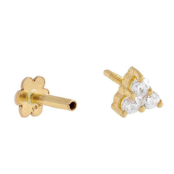 Mini CZ Cluster Threader Stud Earring 14K