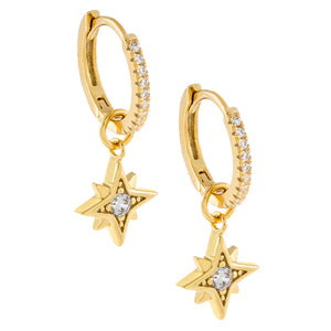 CZ Starburst Charm Huggie Earring Gold - Adina's Jewels
