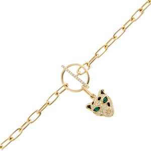Diamond Panther Toggle Chain Bracelet 14K  - Adina's Jewels