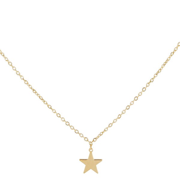 14K Gold Dainty Solid Star Necklace 14K - Adina's Jewels