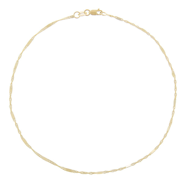 14K Gold Solid Bar X Singapore Chain Anklet 14K - Adina's Jewels