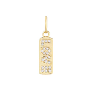 Diamond Love Dog Tag Charm 14K 14K Gold - Adina's Jewels