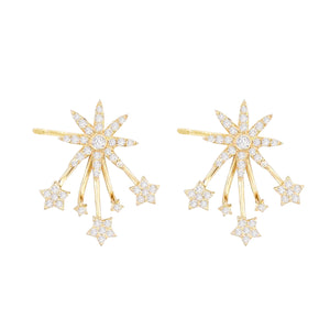 Diamond Starburst Ear Jacket Stud Earring 14K 14K Gold / Pair - Adina's Jewels