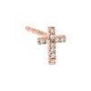 14K Rose Gold / Single Diamond Dainty Cross Stud Earring 14K - Adina's Jewels