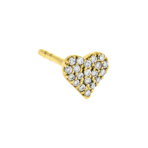 14K Gold Diamond Mini Heart Stud Earring 14K - Adina's Jewels