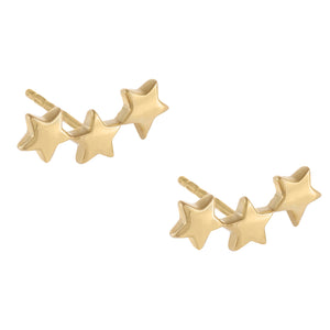 Triple Star Stud Earring Gold - Adina's Jewels