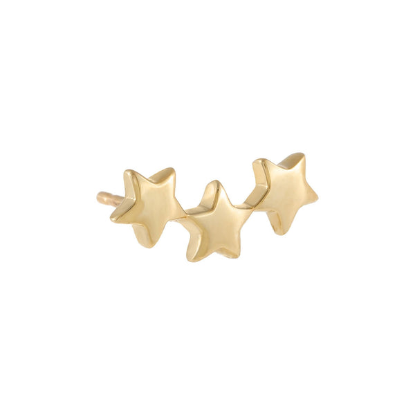 Triple Star Stud Earring 14K