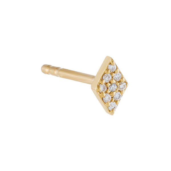 Diamond Shape Stud Earring 14K
