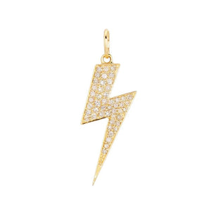 Diamond Large Lightning Bolt Charm 14K 14K Gold - Adina's Jewels