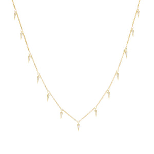Diamond Dangling Spike Necklace 14K 14K Gold - Adina's Jewels