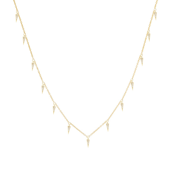 14K Gold Diamond Dangling Spike Necklace 14K - Adina's Jewels