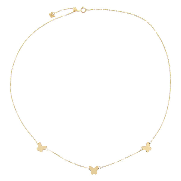 Solid Triple Butterfly Necklace 14K - Adina's Jewels