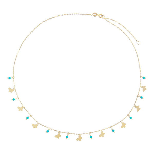 Butterfly X Turquoise Beads Necklace 14K - Adina's Jewels
