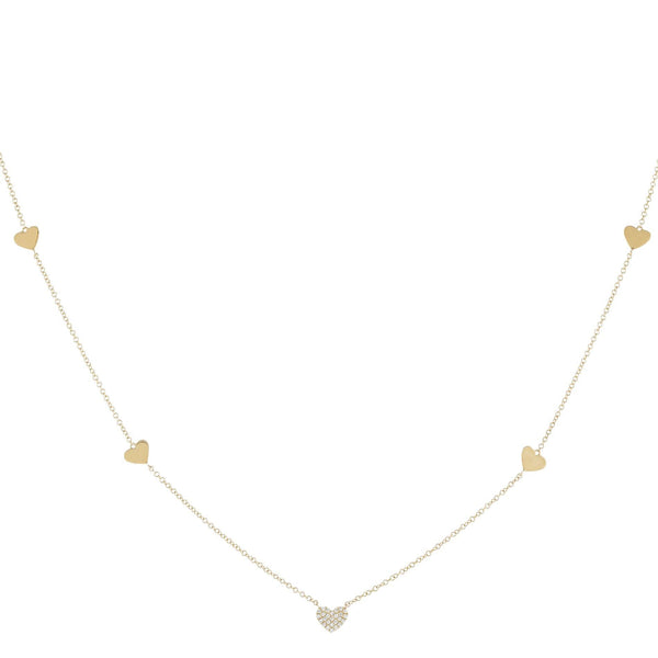 Diamond/Solid 5 Heart Necklace 14K