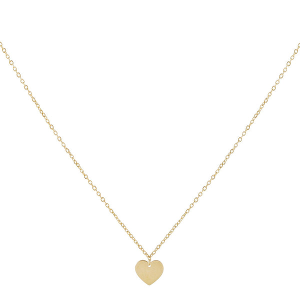Dainty Solid Heart Necklace 14K 14K Gold - Adina's Jewels