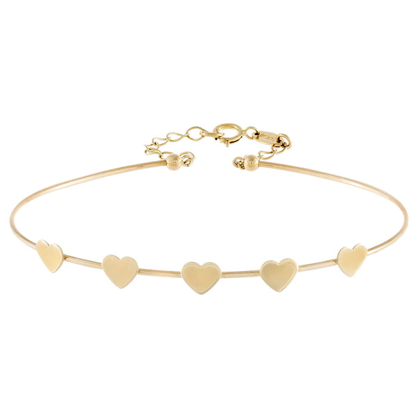 Solid Hearts Bangle 14K