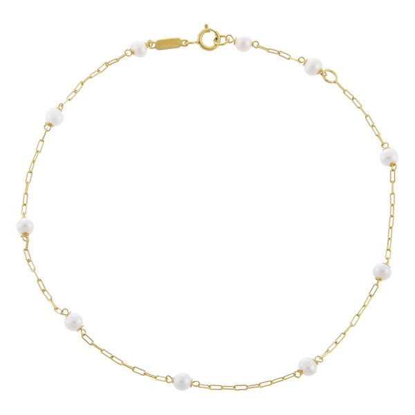 14K Gold Pearl X Chain Link Anklet 14K - Adina's Jewels