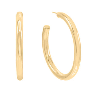 14K Gold Large Hollow Hoop Earring 14K - Adina's Jewels