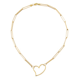 Open Heart Link Necklace 14K - Adina's Jewels
