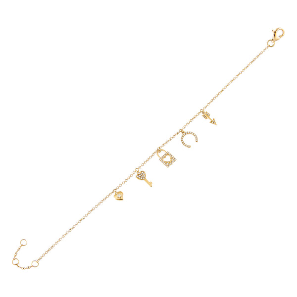 Diamond Love Charms Bracelet 14K 14K Gold - Adina's Jewels