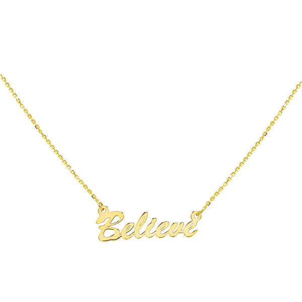 14K Gold / BELIEVE Assorted Phrase Necklace 14K - Adina's Jewels
