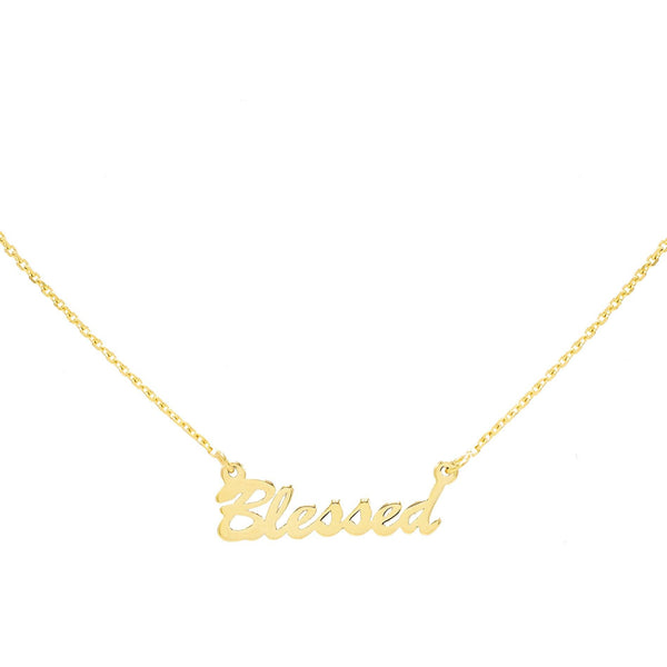 14K Gold / BLESSED Assorted Phrase Necklace 14K - Adina's Jewels