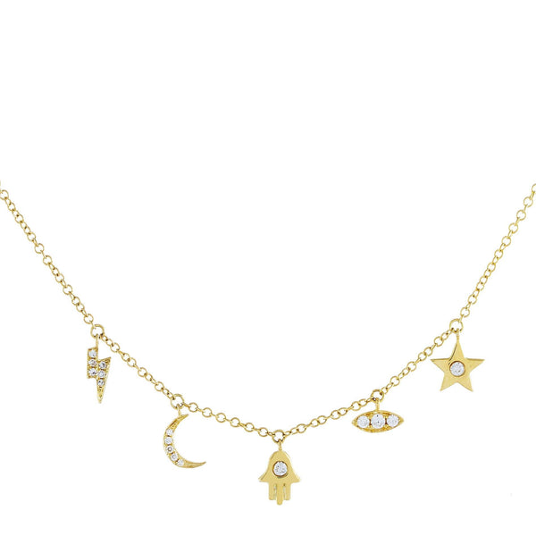 Diamond Charms Necklace 14K