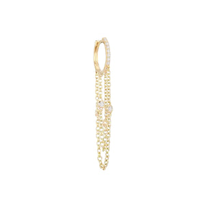 Diamond Chain Drop Huggie Earring 14K 14K Gold / Single - Adina's Jewels
