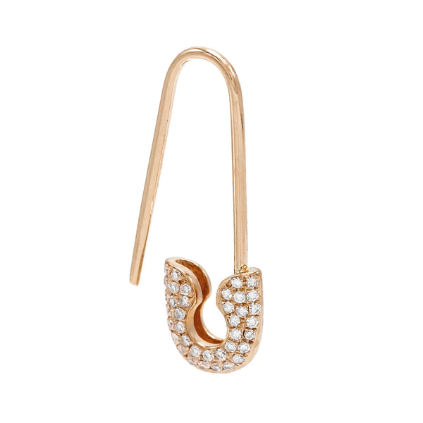 14K Rose Gold / Single/Right Diamond Safety Pin Earring 14K - Adina's Jewels