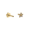 CZ Dainty Flower Threaded Stud Earring 14K  - Adina's Jewels