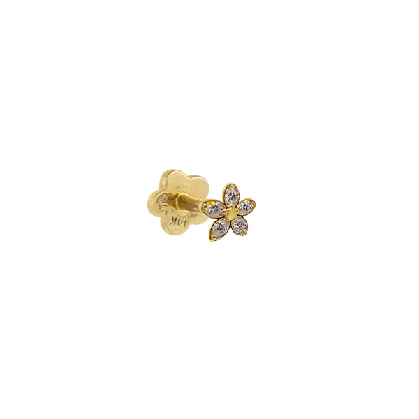 CZ Dainty Flower Threaded Stud Earring 14K 14K Gold / Single - Adina's Jewels