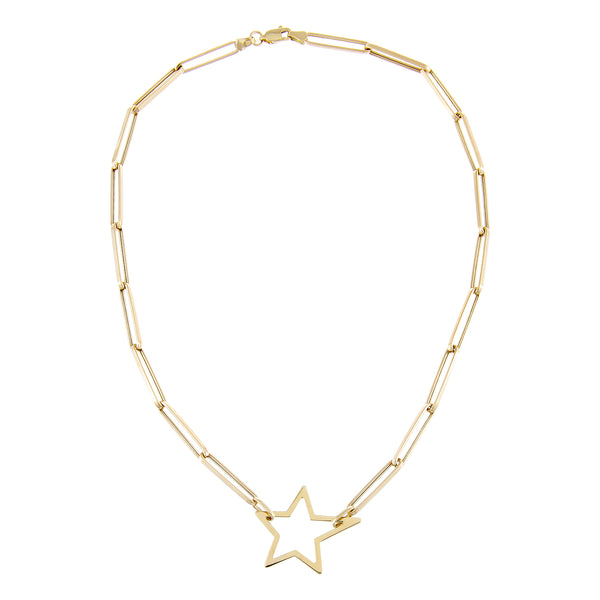 Open Star Link Necklace 14K - Adina's Jewels