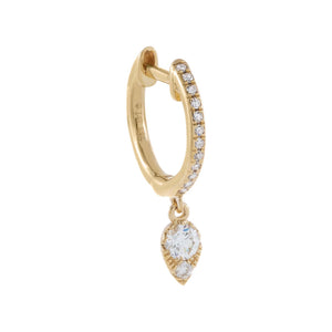 Diamond Dangle Charm Huggie Earring 14K 14K Gold / Single - Adina's Jewels