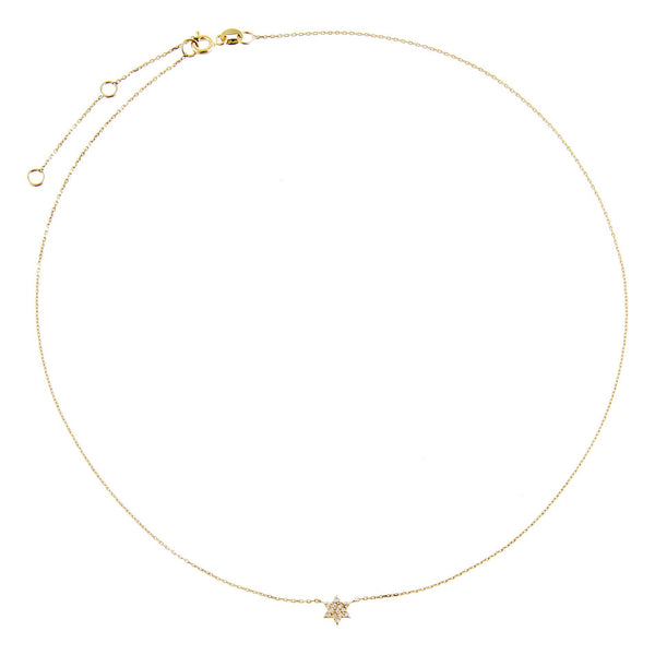 Diamond Mini Star of David Necklace 14K