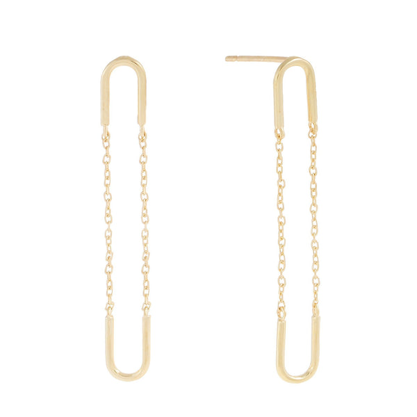 14K Gold / Pair Chain Drop Stud Earring 14K - Adina's Jewels