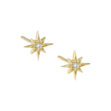 Diamond Dainty Starburst Stud Earring 14K 14K Gold - Adina's Jewels